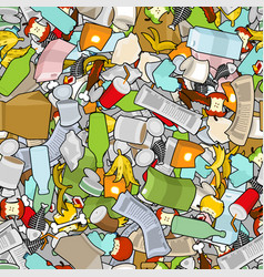 Garbage texture rubbish seamless pattern trash vector
