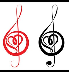 Heart of treble clef and bass clef vector