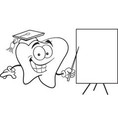 Cartoon tooth with a sign vector