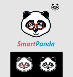 Smart Panda Geek Symbol vector image