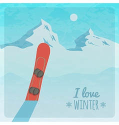 Retro with snowy mountains and snowboard vector