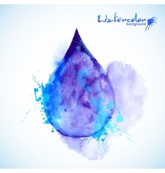 Watercolor painted blue drop vector