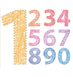Numbers threads on pins colored vector