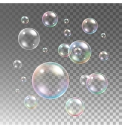 Transparent multicolored soap bubbles set vector