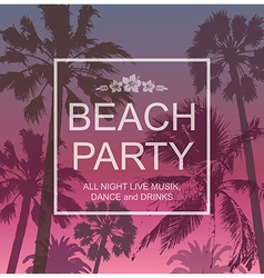 Exotic banner with palms for beach party vector