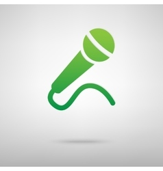 Microphone green icon with shadow vector
