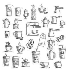 Coffee cups beans grinder and pots vector