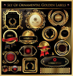 set of ornamental golden labels vector image