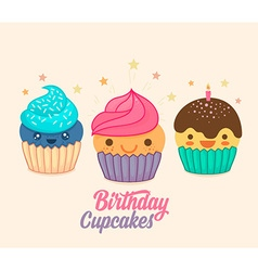 Cute birthday cupcake icon set vector