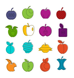 apple icons doodle set vector image