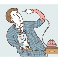 Businessman with old telephone vector