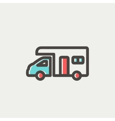 Camper van thin line icon vector image
