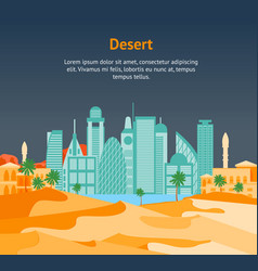 cartoon arab city on a landscape background card vector image