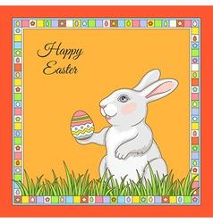 cartoon rabbit frame vector image vector image