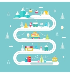 Christmas and winter holidays road map lights vector