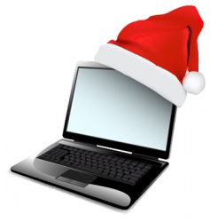 Christmas laptop design vector image vector image