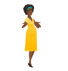 Confused pregnant woman shrugging shoulders vector