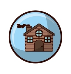 Crystal sphere with house made of wood vector