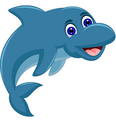 Cute cartoon dolphin jumping vector