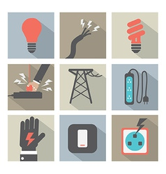 Flat Design Electricity Power Icons Set vector image vector image