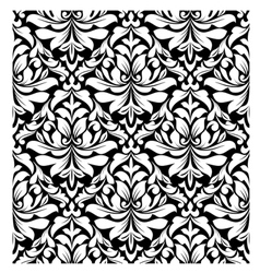 floral seamless damask pattern in white and black vector image