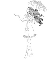 girl walking under an umbrella vector image vector image