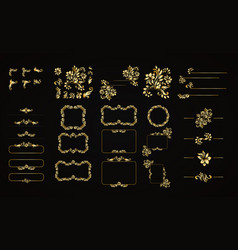 golden calligraphic design elements on the vector image vector image