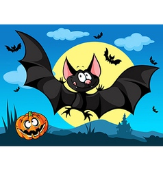 Halloween picture with pumpkin cute bats and moon vector