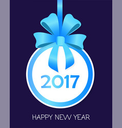 Happy new year round banner with blue ribbons vector