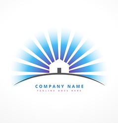 House with sun rays company logo design vector