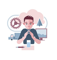 Man is presenting an abstract corporate vector image