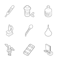 Medicine icons set outline style vector