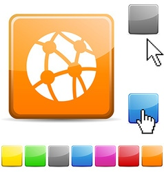 Network glossy button vector