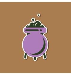 Paper sticker on stylish background cauldron vector