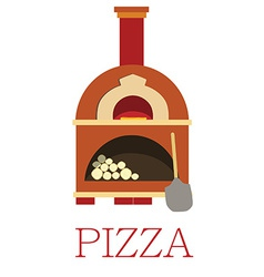 Pizza oven with text pizza vector image