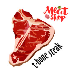 Raw fresh meat t-bone steak isolated on vector