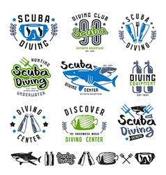 Scuba diving emblems vector