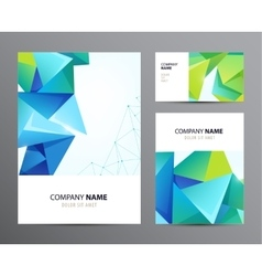 set of business cards flyers with faceted vector image vector image