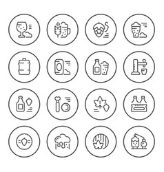 set round line icons of beer vector image vector image