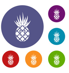 Smiling pineapple icons set vector