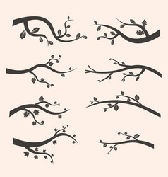 Stylized black tree branch silhouettes with leaves vector