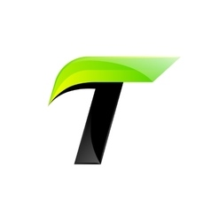 T letter black and green logo design fast speed vector