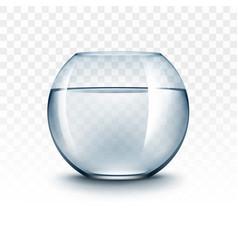 Transparent glass fishbowl aquarium with water vector