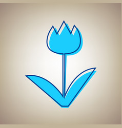 tulip sign sky blue icon with defected vector image