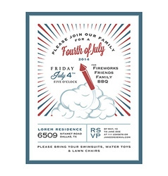 Vintage 4th of July Independence Day invitation vector image vector image