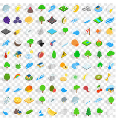 100 ecology icons set isometric 3d style vector