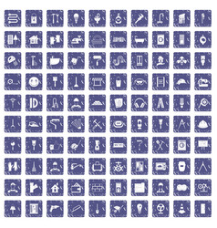 100 renovation icons set grunge sapphire vector