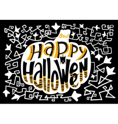 Happy halloween lettering composition in pumpkin vector