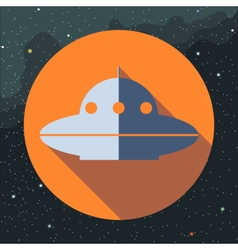 Digital with space ufo alien ship vector image