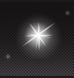 Glowing lights and stars on transparent background vector